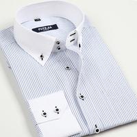 2014 spring autumn male commercial long-sleeve stripe  white collar white shirt casual businese shirts korean slim dress shirts