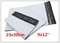 100pcs/lot 23x30cm (9x12'') white envelopes poly mailer plastic mailing bags Free shipping