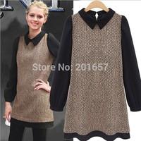 2014 Autumn Desigual wool Women patchwork long sleeve Fashion Fall casual Dresses Girls Vestido De Festa blouse