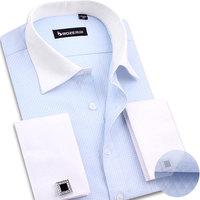 fashion French cufflinks shirt male commercial slim casual shirt male spring  long-sleeve dress shirt