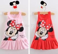 2014 European Classical Cartoon Dress the Girl Casual Cotton Dress Children Summer Sleeping Dress