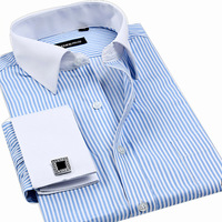 Spring male long-sleeve shirt solid color men's commercial french cufflinks black shirt formal nail sleeve
