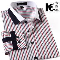 2014 spring fashion england style casual businese shirt male stripe long-sleeve slim stripe dress shirts