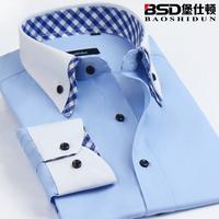 fashion spring autumn Men's clothing male commercial long-sleeve shirt double collar shirt blue slim shirt  dress