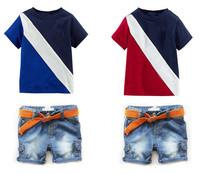 New 2014 boys clothes Boys Polo Suits Kids cotton Baby clothes children Clothing sets 2pcs(t shirt + jeans) boys sets 6sets/lot