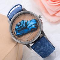 Fashion Woman wristwatches Cowboy fabric band watches Men women quartz watches with car partten Electronic 2014 new