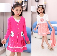 Children's suit 2014 new Long sleeve Coat+Dress two-piece Korean Girl Fashion Pink Peach Grey Casual Autumn Spring dayhz029