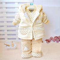 2014 New Children Toddler Boys Girl Winter/Autumn Clothing Suit Set Baby Child Warm Waistcoat 3pcs Sets Suits 3 Colors  0-2T