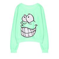 2014 new fashion Autumn women's sweatshirts Harajuku loose teeth Funny Cartoon Blouses long sleeved sweater WY0350