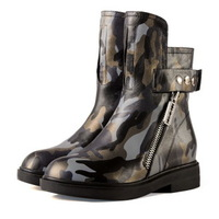 Hot Sale European Shoes Woman Autumn Winter Boots Genuine Leather Camouflage Riding Boots Women Shoes