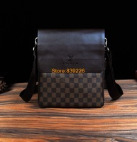2014 men bag brand name messenger bags casual or business leather bag Classic plaid men shoulder bag Free shipping