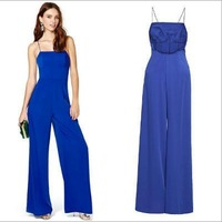 New arrive 2014 women sexy party jumpsuit Chiffon Blue backless Overall Elegant Rompers celebrity casual playsuits