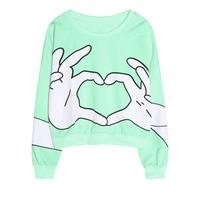 Hot 2014 Autumn winter ladies sexy sweater zipper Harajuku style loose t shirt women's sweatshirt hoodies WY0351
