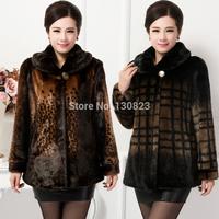 2014 New old ladies mother winter imitation mink coat middle-aged women fur coat largre size