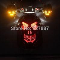 Motorcycle Quad ATV Skull Turn Signal Brake Rear Tail Light For Harley Chopper G