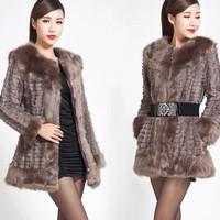 2014 new women slim fashion celebrity faux fur coat plus big size Autumn and Winter Imitation rabbit fur vintage sophisticated