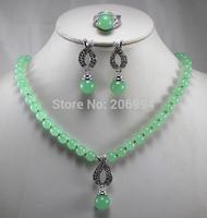 Wholesale factory price Women's semi-precious stones jade Necklace earring ring set #163