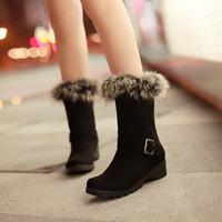 2014 European Brand Women Snow Boots Wedge Comfortable Fur Warm Winter Boots  Black Colors Shoes Woman