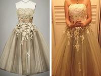 2014 Top Lace Elegant Puff Short Performance Host Evening Prom Dress Bridal Gown Vestido De Novia u0108