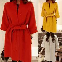 Wool Blended Winter Coat Three Quarter Sleeve Women Loose Thick Long Warm Coats Casaco Feminino With Sashes Free Shipping 386