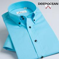 2014 fashion new deepocean male short-sleeve shirt men shirt Mentha blue easy care business casual men's summer dress shirt