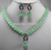 Wholesale factory price Women's semi-precious stones jade Necklace earring set #167