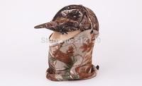 Free Shipping Bionic Camou Hunter Mask Hat Hunting Fishing Cap Headwear bionic camouflage pattern Cap With mask Outdoor Hat