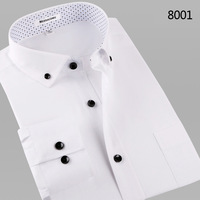 2014 white shirt mens british style solid color businese dress shirts male long-sleeve slim casual shirts easy care shirt mens