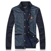 fashion 2014  plus size plus size man stripe british style jacket baseball uniform casual male slim coat