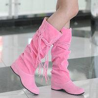 Large size 2014 Spring and Autumn fashion longituba fringed boots women's boots size 35 ~ 43