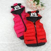 Free shipping 4 pcs/lot Children's winter models cartoon Mickey hooded vest girls vest  thickening