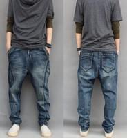 2014 Plus size  fashion trend men's low rise harem pants large hanging crotch pants skinny denim jeans pants  men's clothing