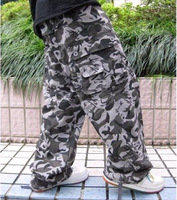 outdoors Plus size clothing plus size men's  Camouflage cotton multi-pocket cargo pants overalls hiphop trend of casual trousers