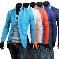 New 2014 Autumn Winter Men leisure suit Blazer Slim leisure stripe spell color Men Suit Blazer Free Shipping Promotions