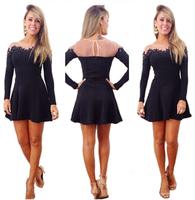 5860 2014 New Women Autumn Dress Black Lace Long Sleeve Casual Party Dress Vestidos