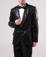 Free shipping classic slim black sequins mens tuxedo suit, full set! include jacket,trousers,waistband and bowknot!