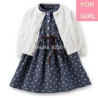 Lastest Carter 2014 Fall Baby Girl 3-pcs White Knit Cardigan Danim Print Rose Dress Diaper Set Infant Clothing Suit,9 12m YW