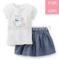 Lastest Carter 2014 Summer Baby Girl White Tee Danim Dot Short Dress Set Cat Bird Infant Clothing Skirt Suit,12m 4T In Store, YW
