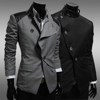 New 2014 Autumn Winter Men Suit Blazer fashion England Slim leisure Irregular Men Blazer Free Shipping Promotions Black / Gray