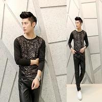 Free shipping! The latest ... Men Slim printing irregular fashion personality long-sleeved T-shirt ct303