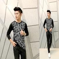 Free shipping! The latest ... Men Slim printing irregular fashion personality long-sleeved T-shirt ct302
