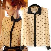 New Autumn Europe & America blouse small black swan printing stitching all match chiffon long sleeve shirt blusa free shipping