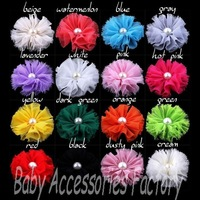 Novelty Pearl Flash Flower Artificial Fabric Shabby Cloth Flowers Hair Apparel Accessories Hair Flower For Baby Girl Headwear
