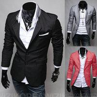 New 2014 Fall Winter Men Suit Blazer Fashion Slim leisure Pure Color pocket Post Cloth design Men Blazer Free Shipping Promotion