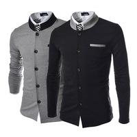 New 2014 Fall Winter Men Suit Blazer Fashion Slim leisure spell color Collar Men Blazer Free Shipping Promotion Gray/Black