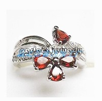 Garnet ring Natural and real garnet ring 925 stelring silver plated 18k white gold Flower style Red gems#140090803