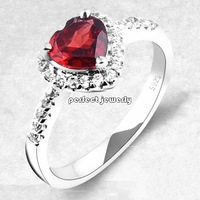 Garnet ring Natural and real garnet ring 925 stelring silver plated 18k white gold Love heart style Red gems#140090805