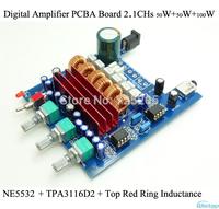 Digital Amplifier PCBA Board TPA3116D2 2.1CHs 50W+50W+100W Audio Top Red Ring Inductance NE5532 High-power DIY Free Shipping