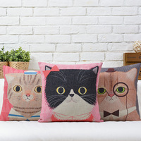 Free shipping novelty Christmas gift Cute sailor cat with hat bowknot pattern Cushion Cover home decorative throw pillow Case
