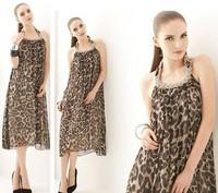 Spring Summer European and American Sundreses Necklace Halter Decorative Hanging Neck Leopard Print Chiffon Full Dress SRX10